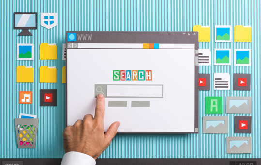 A hand pointing to a web browser's search engine field