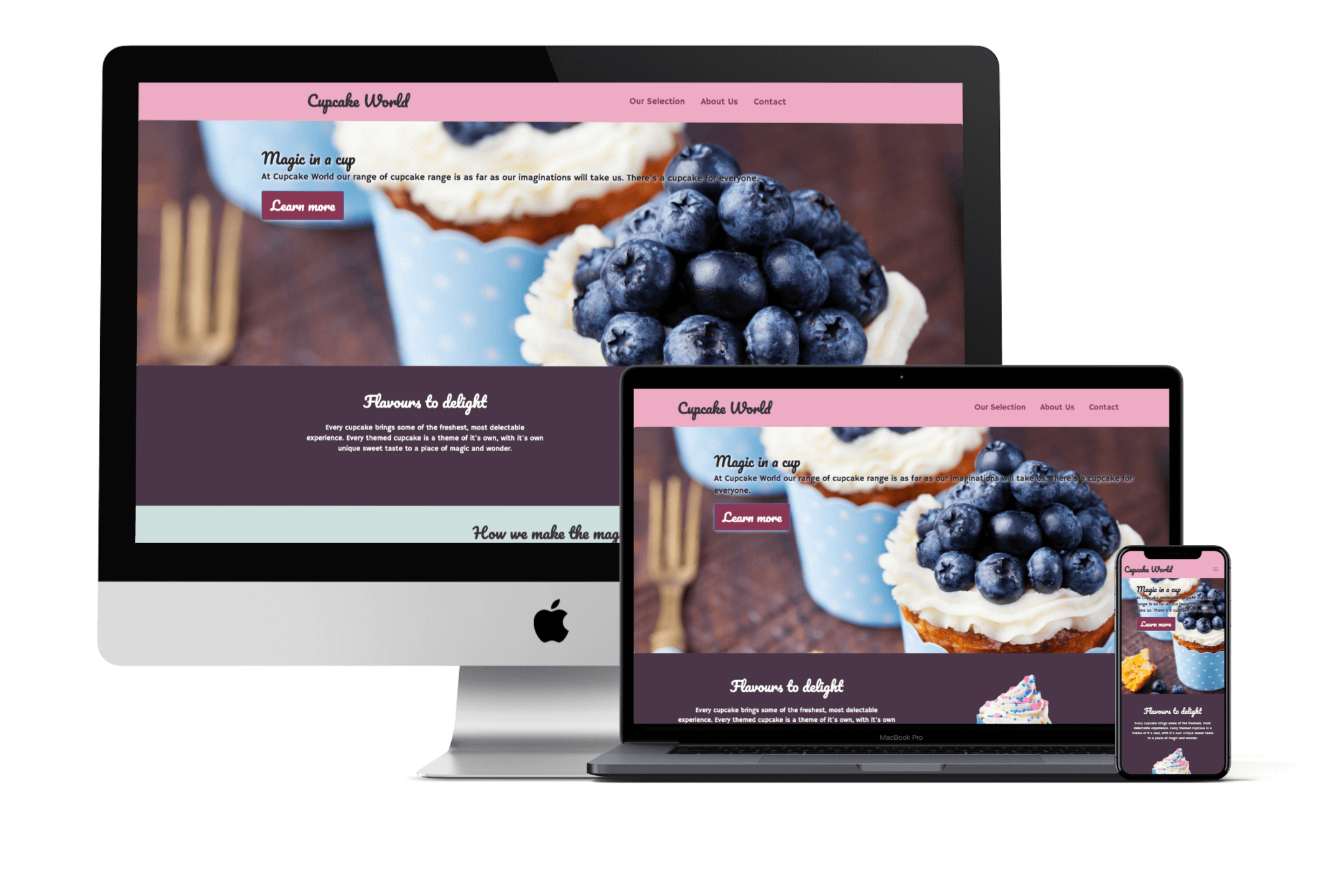 Cup Cake World's Website Design