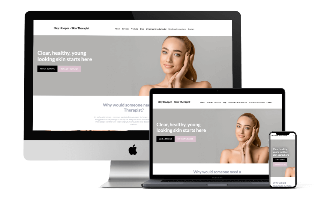 Eley Hooper Skin Therapist's Website Design